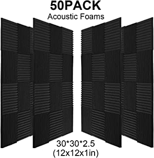 50 Pack Acoustic Panels Soundproof Foam for Walls Sound Absorbing Panels Soundproofing Panels Wedge for Home Studio Ceiling, 1