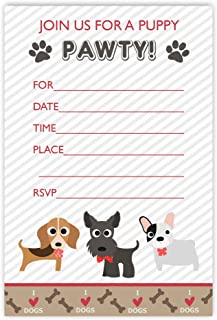 20 Puppy Paw Ty Invitations Dog Party Invites With Envelopes