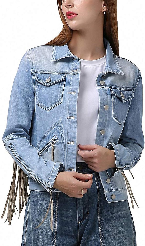 Hiuwa Womens Denim Jacket Tassel Long Sleeve Zipper Bomber Jackets Jeans Coat Casual