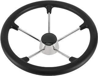"""DasMarine 5 Spoke 15.5"""" Dia. Boat Steering Wheel,3/4"""" Shaft,25 Degree Dish,304 Stainless Steel Steering Wheel with Black P..."""