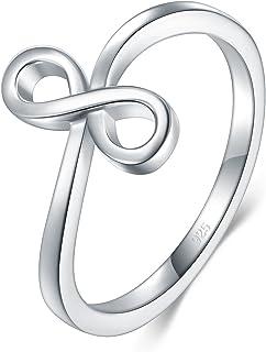 BORUO 925 纯银戒指,高抛光无穷符号抗锈蚀舒适贴合婚戒