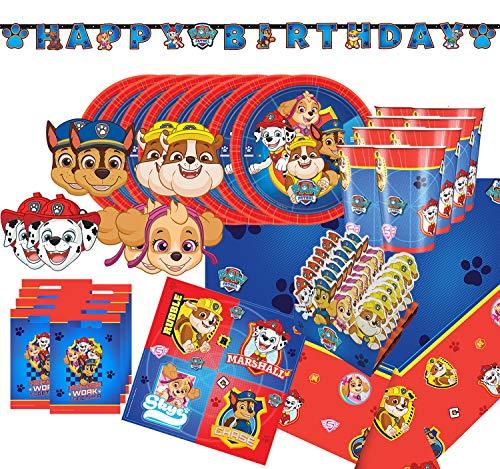 Krause & Sohn Party-Set Kindergeburtstag viele Teile Geschirr Geburtstag Dekoration Geburtstagstisch (Hunde)