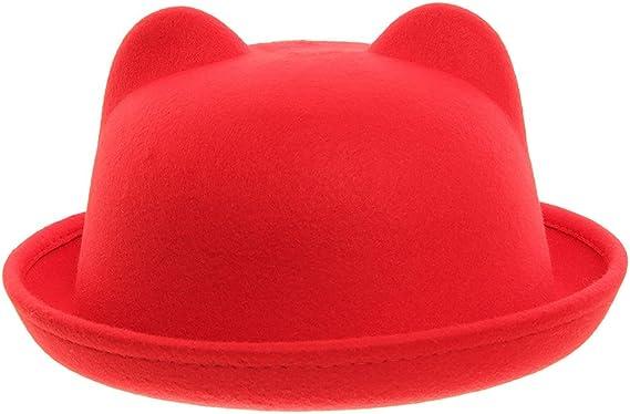 Eozy Women Wool Felt Cat Ear Roll-up Hat Fedora Bowler Head Circumference 22.5