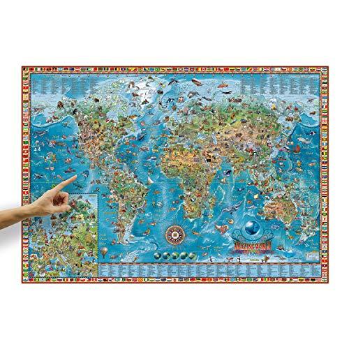 ORBIT GLOBES und MAPS Kinder-Weltkarte Amazing World mit Tieren & Flaggen im Poster-Format XXL 138 x 98 cm mit aufschlussreicher Legende, Deko-Landkarte für Kinderzimmer