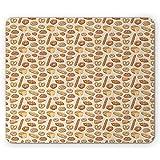 Bäckerei-Mausunterlage, Verschiedene Brot- und Brötchensorten in verschiedenen Formen, rutschfestes rechteckiges Gummi-Mousepad, Dunkles Pfirsichsandbraun
