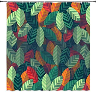 dachengxing Botanical Shower Curtain Fresh Natural Style Decor Plant Leaves Next to Each Other Modern Home,Waterproof Green Orange Fabric Hooks Included 70x70 Inch