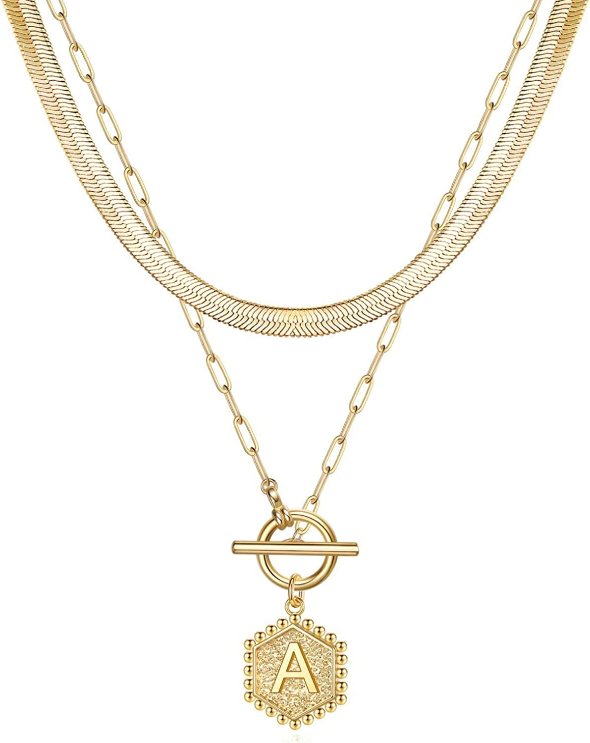 Yesteel Gold Layered Initial Necklace for Women, 14K Gold Plated Hexagon Initial Pendant Necklace Herringbone Toggle Clasp Paperclip Chain Necklace for Women Girls Jewelry Gifts