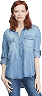 VELVET HEART 'Angelique' - Women's Button Up Shirt, Casual Chambray Popover Denim Top, Lightweight, Comfy & Eco-Friendly!