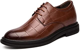 Fashion Oxford Shoes for Men Formal Shoes Casual Lace Up PU Leather Grid Pattern Low Top Hidden Increasing Heel Men's Boots (Color : Brown, Size : 8.5 UK)