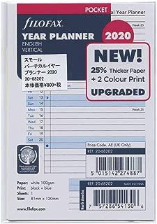 C68426-20 d/écembre 2020 16,5 x 9,5 cm Filofax 2020 Recharge personnelle//compacte semaine par page janvier 2020