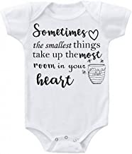 Bargain Bella Sometimes The Smallest Things Take up The Most Room in Our Hearts Quote Love Baby Gift Babies Bodysuit