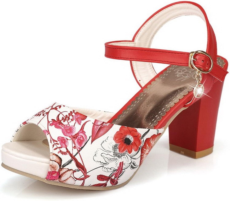AllhqFashion Women's Peep Toe Buckle PU Assorted color High-Heels Sandals