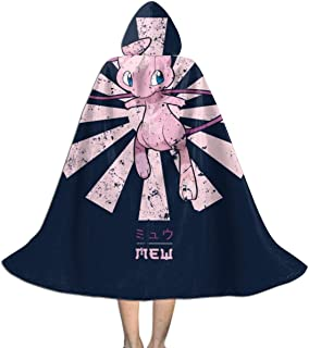 SEDSWQ Mew Monster of The Pocket Retro Japanese Unisex Kids Hooded Cloak Cape Halloween Xmas Party Decoration Role Cosplay Costumes Black