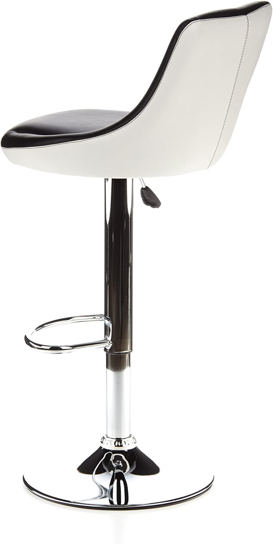 hjh Office 685965 Steady II Tabouret Pivotant - Simili cuir - Noir/Blanc Noir/Blanc