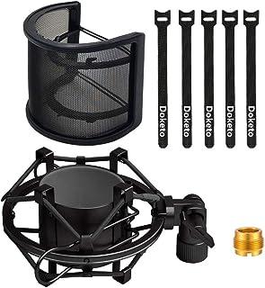 DOKETO ポップガード と ショックマウント セット U型 金属ネット層 ウインドスクリーン ノイズ防止 振動防止 46mm-53mmのマイク対応 (ブラック)