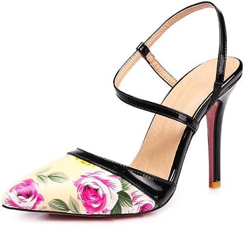 Femmes Filles Filles Pointu Toe Floral Imprimer Stilettos Strappy Chaton Talons Mariage Danse Cour Chaussures  design unique