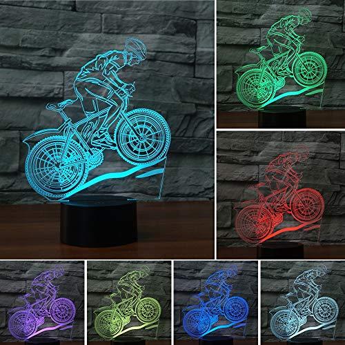 FYQF 3D-Illusion Nachtlicht-LED-Schreibtischlampe Touch Control 16 Farbwechsel USB Powered für Kinder Jungen-Mädchen-Geschenke,Bike