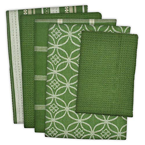 """DII Cotton Oversized Kitchen Dish Towels 18 x 28"""" and Dishcloth 13 x 13"""", Set of 5 , Absorbent Washing Drying Dishtowels for Everyday Cooking and Baking-Sage"""