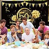 50. Geburtstag Party Dekoration, Extra Große Stoff Schild Poster zum 50. Jahrestag Foto Stand Hintergrund Banner, 50. Geburtstag Party Lieferunge (Schwarz Gold) - 3