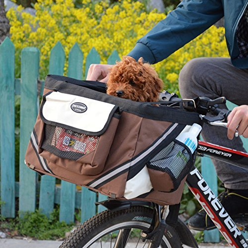 Hillwest Pet Bike Basket Bag Bicycle Front Carrier Pet Dog Bicycle Carrier Bag Basket Puppy Dog Cat Travel Bike Carrier Seat Bag for Small Dog Products Travel Accessories Brown Under 13lbs