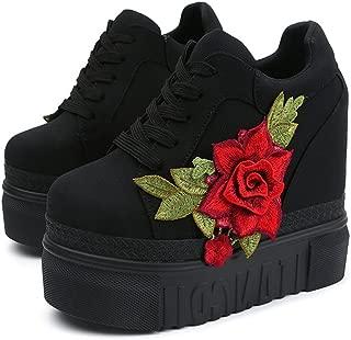 Women Fashion Platform Sneakers Wide Width High Hidden Heel Wedge Walking Shoes