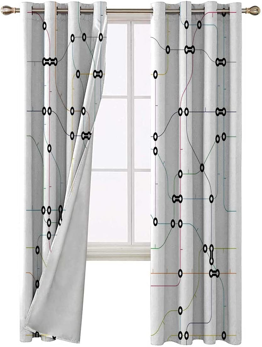 Bedroom 2021new shipping free Blackout Curtains 96 Inch Long Outlet SALE Metro Lines Colorful Sche