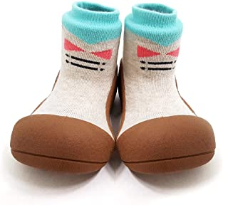 Attipas Best First Walker Shoes Baby Cotton Socks Shoes Non Toxic Safe Great Baby Registry Gifts (US Toddler 5.5, Tie Brown)