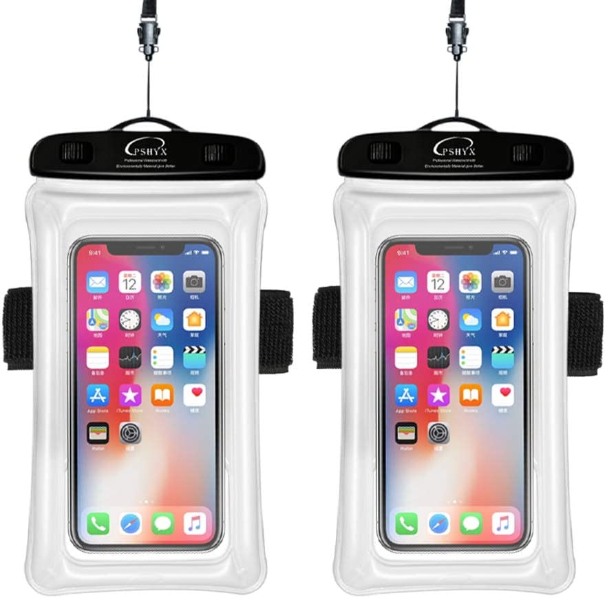 PSHYX Universal 100 Feet Waterproof Phone Bag Floating Case with Arm Band for iPhone 11 Pro Max XS XR X 8 7 6S Plus Samsung Google LG Phone up to 7 Inch (Pack of 2) (White)