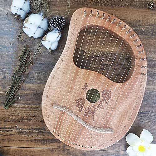 16 Metall String Lyre Harfe, Mahagoni Lye Harfe, Leier, Harfe Instrument, gravierte Entwurf, mit Tragetasche Stimmschlüssel Reinigungstuch Strings,4
