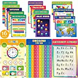 16 Pieces Educational Posters for Elementary Middle School Classroom Teach Homeschool Decor 1st 2nd 3rd 4th 5th Grade for Kindergarten Preschoolers Toddlers Kids