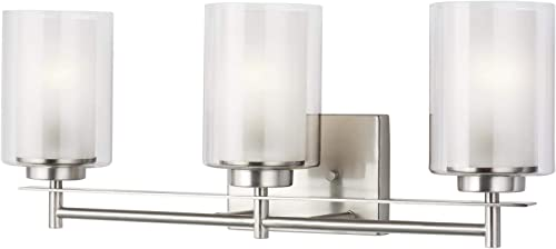 discount Sea Gull Lighting Generation 4437303EN3-962 Transitional lowest Three wholesale Light Wall/Bath from Seagull-Elmwood Park Collection in Pewter, Silver Finish, Brushed Nickel online