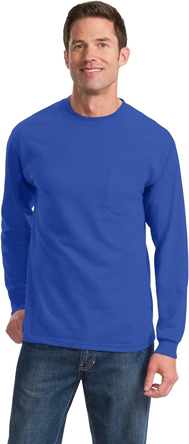 Port & Company Men's Tall Long Sleeve Essential T Shirt with Pocket