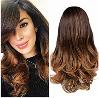 Quantum Love Wigs Ombre Brown to Light Brown Wig with Bangs Long Wavy Wig Heat Resistant Synthetic Daily Party Wig for Women