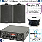 2x Black Outdoor Speaker Bluetooth System Kit | SMART HOME ECHO DOT ALEXA SPOTIFY | Outside Background Audio Weatherproof Waterproof External | Wireless Music Player HiFi For Garden BBQ Parties, Pub