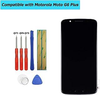 شاشة بديلة من أوبلس متوافقة مع موتورولا موتو G6 بلس شاشة لمس LCD لوحة أمامية + لاصق مع إطار مع مجموعة أدوات (أسود)