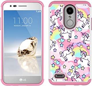 LG Aristo 2 Case, LG Tribute Dynasty/Fortune 2/Zone 4/Risio 3 Case - Rainbow Unicorn Patchwork Pattern Shockproof Hard PC and Inner Silicone Hybrid Dual Layer Armor Defender Case for LG K8 2018