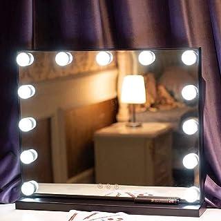 Espejo De Maquillaje con Luces Espejo De Tocador Grande Estilo Hollywood con 3 Colores Regulables Espejo Cosmético Rectan...