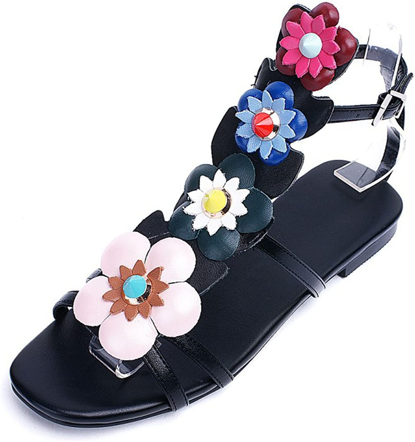Women's Sandals Peep Toe Fashion Flowers Black Leather Pump Court shoes Ankle Evening Party High Heels