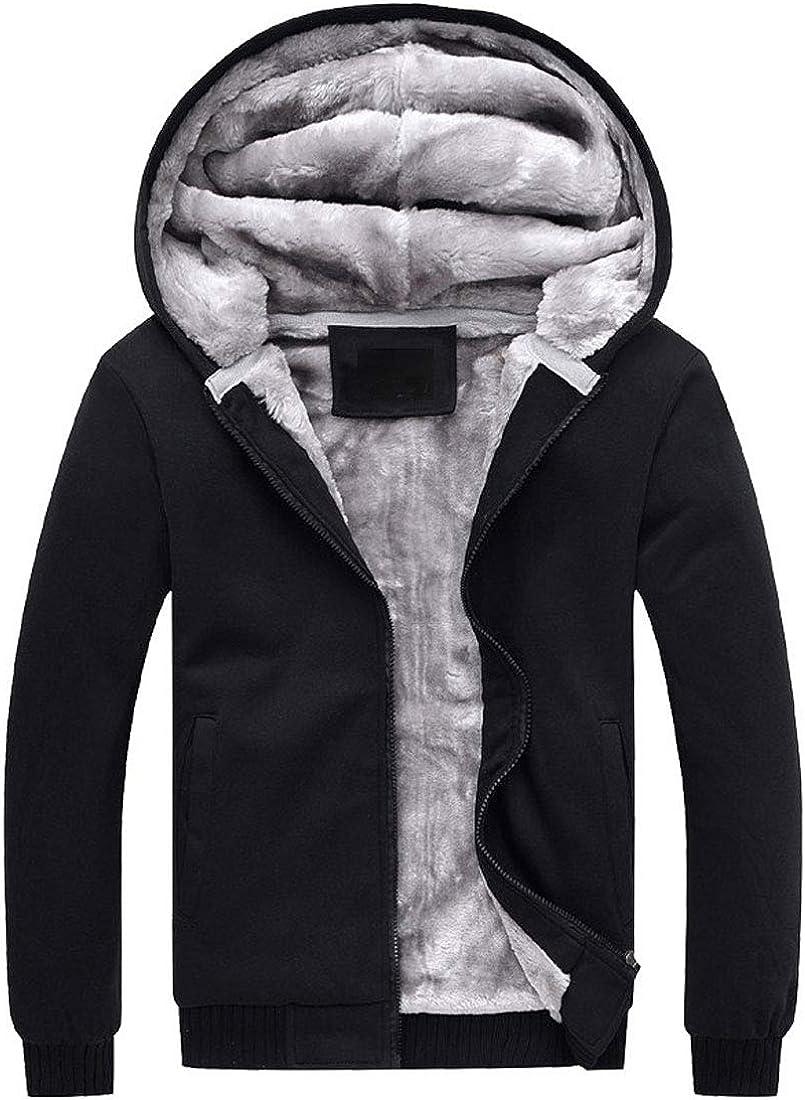 PUWEI Women's Loose Zip Up Thick Sherpa Fleece Lined Hooded Sweatshirt Jacket