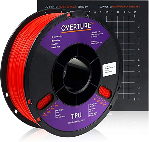 Overture TPU Filament 1.75mm Flexible TPU Roll with 200 x 200 mm Soft 3D Printer Consumables, 1kg Spool (2.2 lbs.) , ...