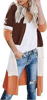 Women Knitted Sweater Coat, Ladies Color Patchwork Long Sleeve Pocket Cardigan Sweatshirt Long Outwear