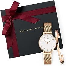 ساعة دانيال ولينغتون للنساء كلاسيكية صغيرة الحجم مزينة باللونين الذهبي الوردي 28 ملم + سوار كلاسيكي ذهبي وردي - صغير (DW00100219 + DW00400003)
