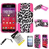 For Kyocera Hydro Wave C6740 / Hydro Air / ITUFFY 3items: Screen Film+Stylus Pen+Dual Layer Impact Resistance Plastic Cover Soft Rubber KickStand Hybrid Case (Pink Leopard - Hot Pink)