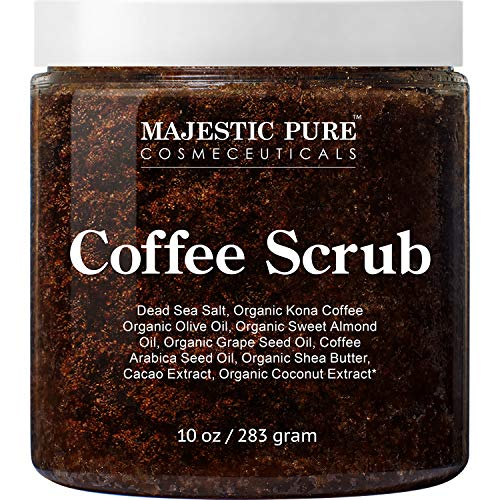 Majestic Pure Arabica Coffee Scrub - All Natural Body Scrub for Skin Care, Stretch Marks, Acne & Cellulite, Reduce the Look of Spider Veins, Eczema, Age Spots & Varicose Veins - 10 Ounces