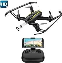 Potensic Drone con cámara 720P HD, RC Quadcopter RTF Altitude Hold, Avión con Control Remoto, Modo sin Cabeza WiFi FPV 2.4Ghz, Aterrizaje y Despegue y Alarma al Fuera de Rango , U36W Negro