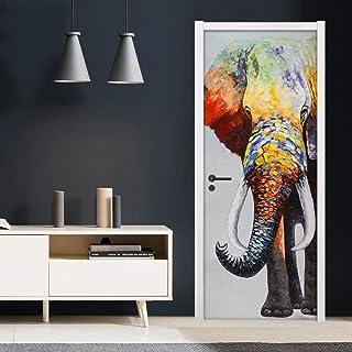 Décoration De La Maison Autocollant De Porte 3D Autocollants Muraux Auto-Adhésifs Couleur Éléphant Papier Peint Mural Auto...
