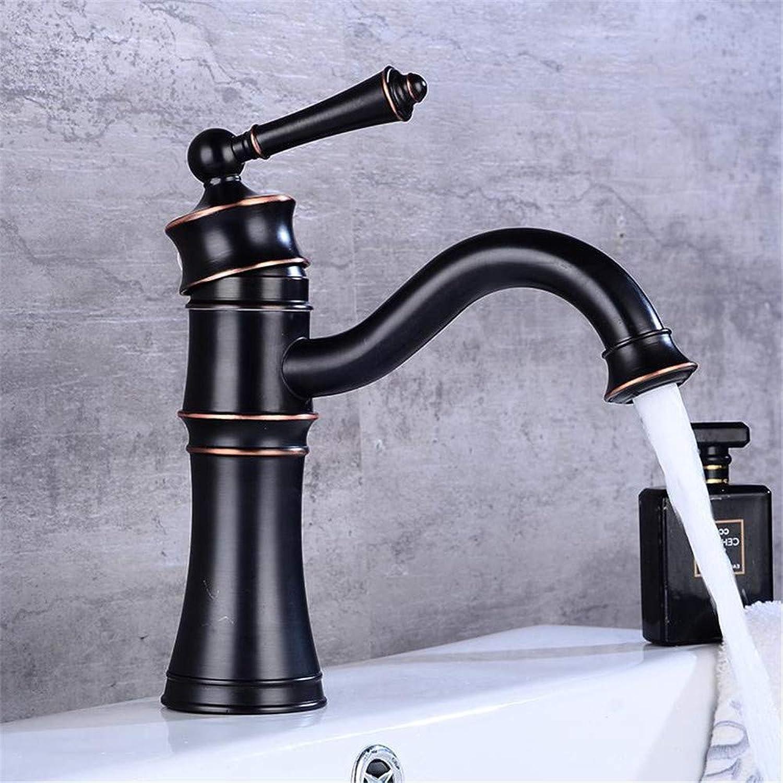 Oudan Basin Faucets Black Copper Bathroom Faucet Mixer Vintage Hot and Cold Cock Wash Basin Mixer Tap Sink Single Handle Crane 58805 (color   -, Size   -)