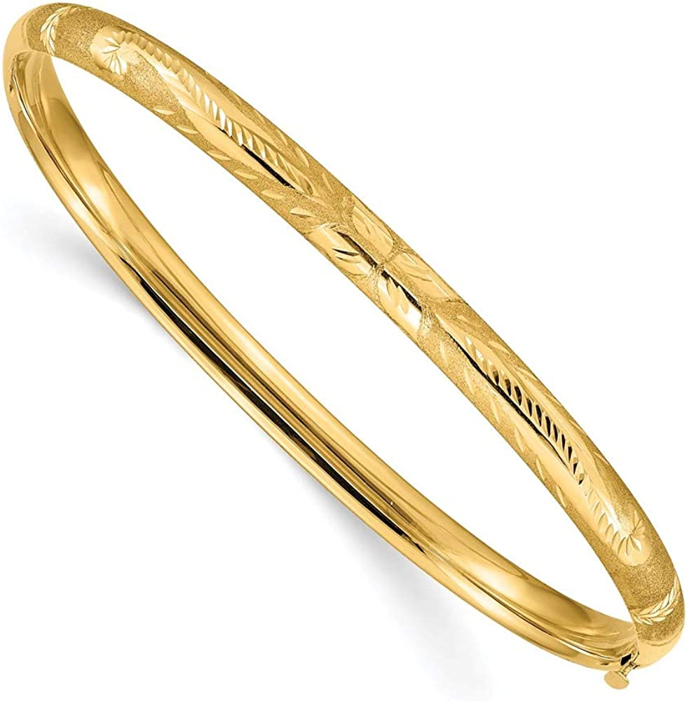 14k Yellow Gold 4.75mm Oversize Florentine Engraved Hinged Bangle Bracelet Cuff Expandable Stackable 8 Inch Fine Jewelry For Women Gifts For Her