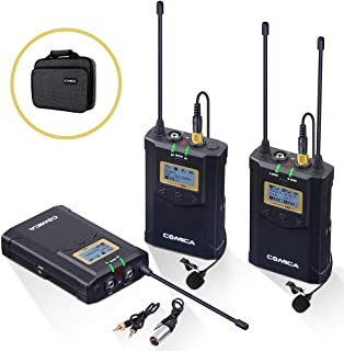 Wireless Lavalier Microphone System, Comica CVM-WM100 Plus UHF 48-Channel Dual Lav Mic Set for DSLR Camera XLR Camcorder Broadcast (2 Transmitter+1 Receiver) ¡