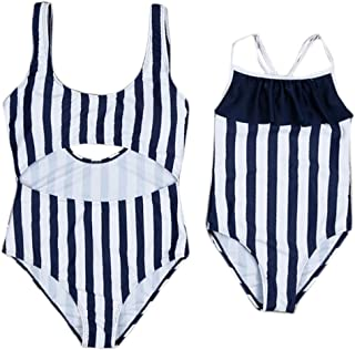 68f3121859 Gaono Mommy and Me Family Matching One Piece Beach Wear Black and White Stripe  Swimsuit Monokini
